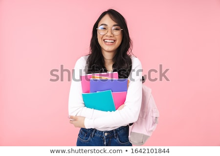 portre · mutlu · genç · esmer · kadın - stok fotoğraf © HASLOO
