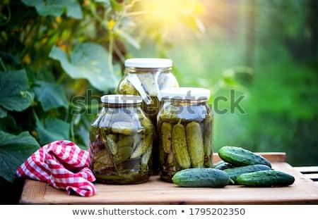 Jar komkommers voedsel behoud peper kok Stockfoto © elly_l