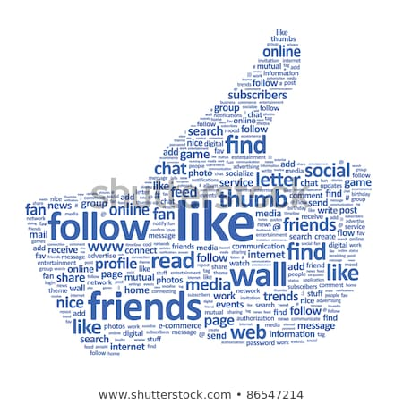 Hand symbol, composed of text keywords on social media themes Stock photo © fotoscool