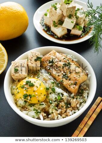 Tofu Seafood And Vegetable Stir Fried Steam Rice Stockfoto © AGfoto