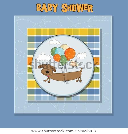 Baba zuhany kártya hosszú kutya léggömbök Stock fotó © balasoiu