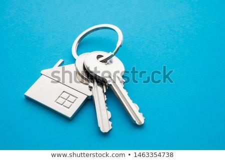 銀 家 ドアの鍵 実例 青 キー ストックフォト © lkeskinen