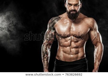 パワフル 筋肉の 男 バーベル 手 フィットネス ストックフォト © feedough