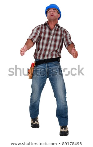 Bouwvakker weird glimlach achtergrond werknemer industriële Stockfoto © photography33