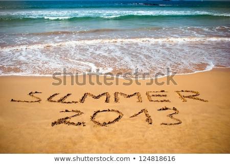Zomer 2013 zomervakantie strand wolken reizen Stockfoto © ivonnewierink