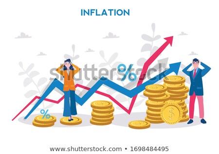 Foto stock: Inflação · dólar · pirâmide · preto · dinheiro