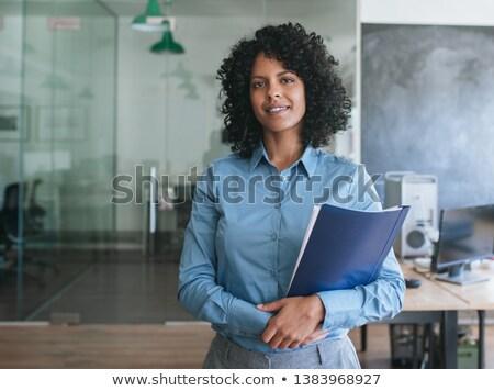 Stockfoto: Zakenvrouw · mappen · mooie · moe · werk