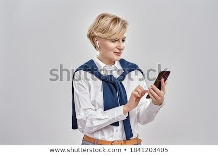 魅力的な · シニア · マネージャ · 会社 · ポーズ · スタイル - ストックフォト © stockyimages