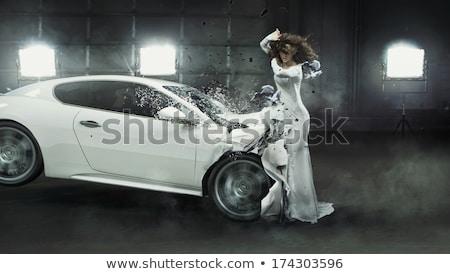 Conceptual photo of a crashed car Stock photo © konradbak