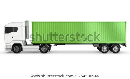 Teherautó nyerges pótkocsi vágány hátsó nézet izolált render Stock fotó © cherezoff