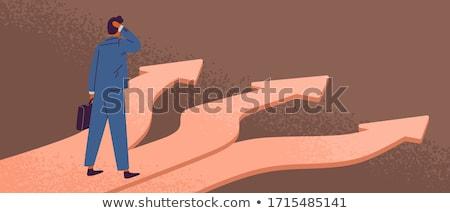 Zakenman kruispunt kiezen pad man Stockfoto © Lightsource