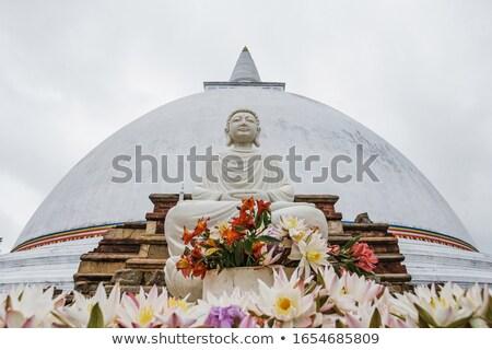 Stupa at Anuradhapura with buddha statue Stock photo © Hofmeester