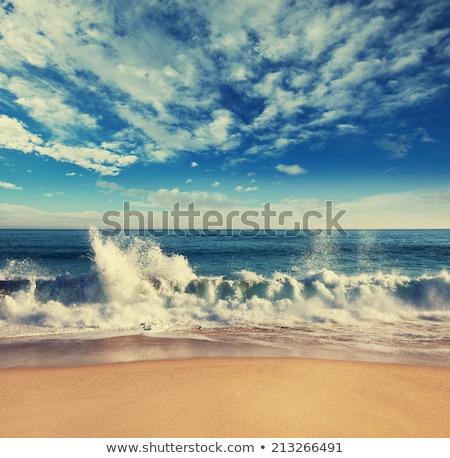 Playa paisaje sombrilla cielo mar verano Foto stock © EwaStudio