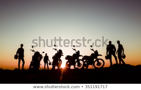 Motorcyclist at sunset Stock photo © adrenalina