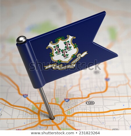 Connecticut Small Flag on a Map Background. Stock photo © tashatuvango