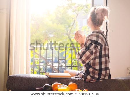美しい · ブロンド · 見える · 外に · ウィンドウ · 若い女の子 - ストックフォト © toocan