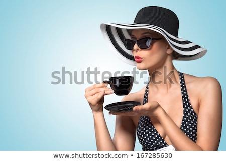 Güzel kadın Retro elbise şapka içme sıcak içecek Stok fotoğraf © feelphotoart