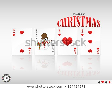merry christmas poker greeting card vector illustration stock photo © carodi