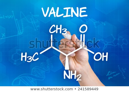 Hand with pen drawing the chemical formula of valine Stock photo © Zerbor