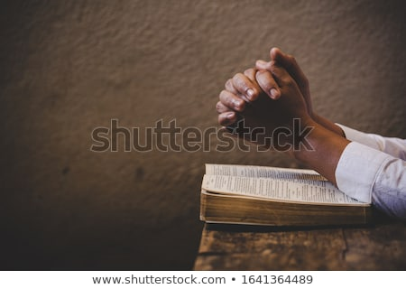 oração · mãos · ícone · azul · coração · mão - foto stock © vg