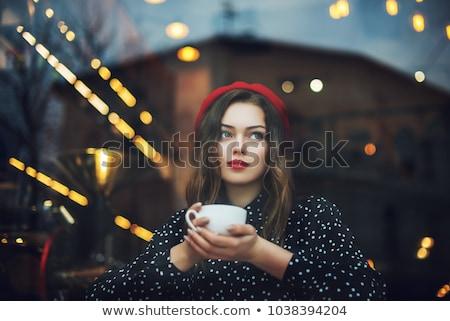 великолепный · женщину · костюм · Кубок · кофе - Сток-фото © lithian