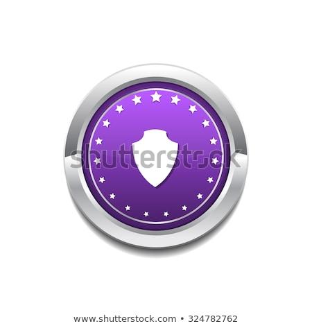 Tarcza wektora fioletowy web icon przycisk Zdjęcia stock © rizwanali3d