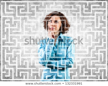 Conceptual image of a maze in the woman's brain Stock photo © konradbak