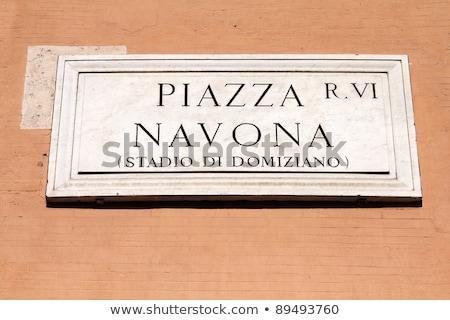 Piazza Navona sign in Rome, Italy Stock photo © vladacanon