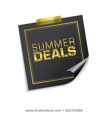 Summer Deals Golden Sticky Notes Vector Icon Design Stock photo © rizwanali3d