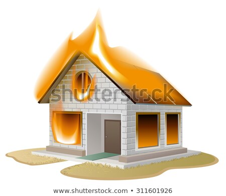 white brick house on fire country cottage in danger stock photo © orensila
