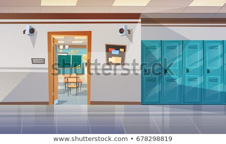 Stock photo: vector flat background of colorful school lockers