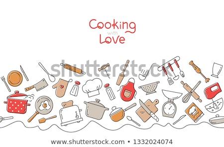 кухне инструменты изолированный вилка овощей белый Сток-фото © kariiika