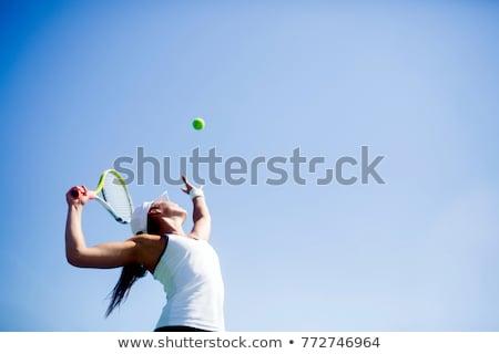 teljes · alakos · nő · teniszező · ütő · kész · labda - stock fotó © filipw
