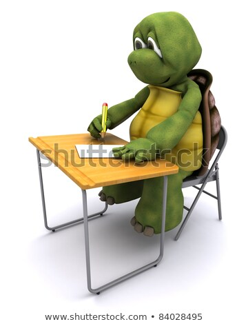tortoise sat at school desk Stock photo © kjpargeter