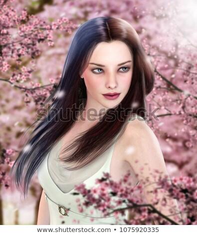 portrait · séduisant · brunette · dame · parfait · cheveux - photo stock © konradbak