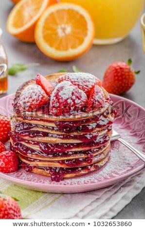 Pancake with strawberry jam Stock photo © Digifoodstock