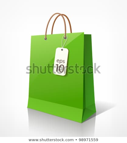A Green Bag With An Empty Label Stock fotó © Sarunyu_foto