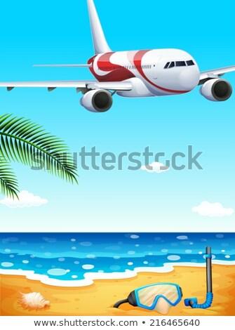 Tengerpart repülőgép illusztráció víz tenger kék Stock fotó © bluering