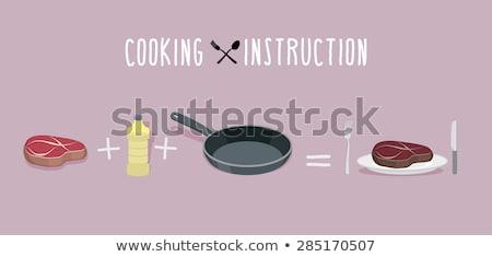 стейк приготовления инструкция мяса сковорода бекон Сток-фото © popaukropa