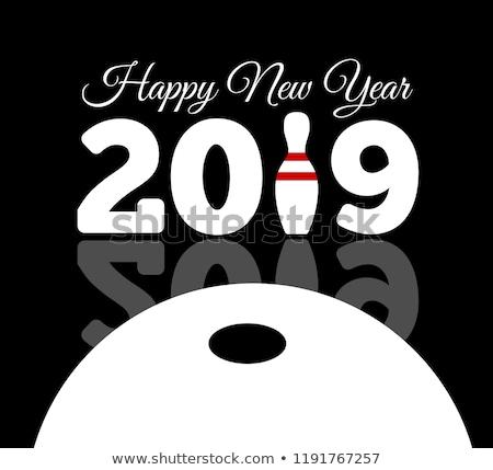 Félicitations heureux nouvelle année bowling boule de bowling Photo stock © m_pavlov