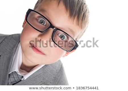 интеллектуальный · мальчика · очки · лице · счастливым · глазах - Сток-фото © meinzahn