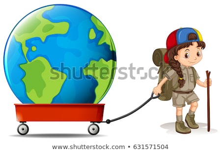 Little girl pulling big earth on wagon Stock photo © bluering