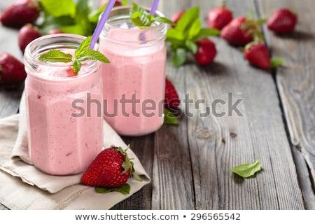 ストックフォト: Red Strawberry Fruit Smoothie In Glass Jars With Straw Mint Leaf Cut Ripe Berry White Wooden Boar