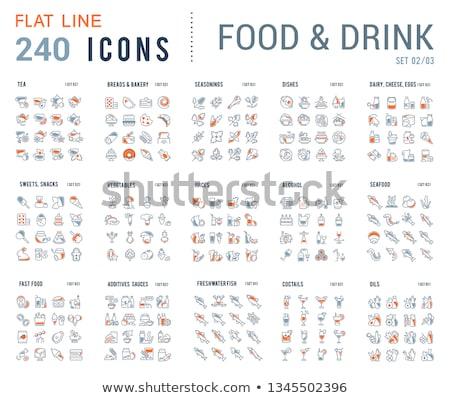 Additional Food Line Icons Set Stock photo © Voysla