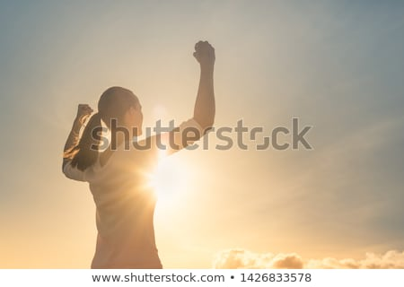 Réalisation triomphe Homme personne montagne permanent Photo stock © stevanovicigor