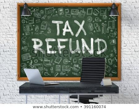 Kézzel rajzolt adó viszzafizetés iroda tábla zöld Stock fotó © tashatuvango