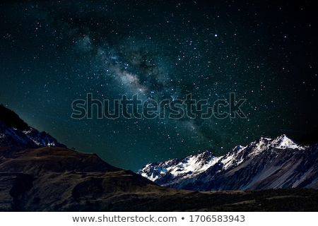 milky way and mountains in nepal stock photo © denbelitsky