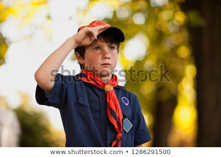 Сток-фото: Kid Boy Standing Outside Late