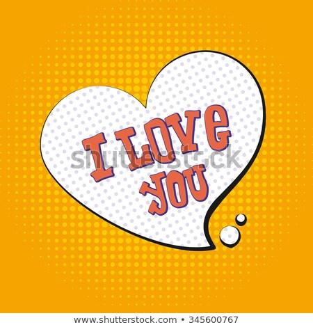 I love you pop art. text to symbol of heart. Illustration tyle o Stock photo © popaukropa