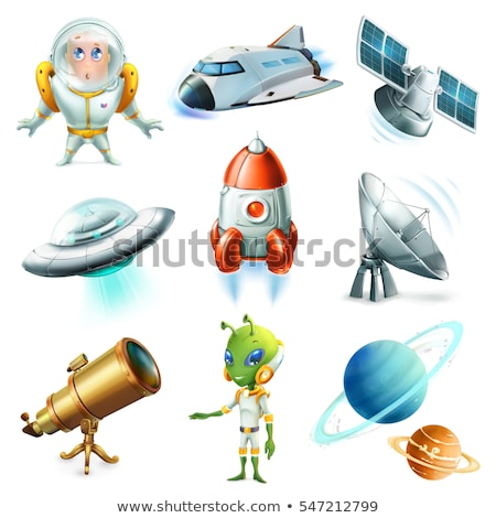 Satellite in space on a white background. Vector illustration. Сток-фото © popaukropa